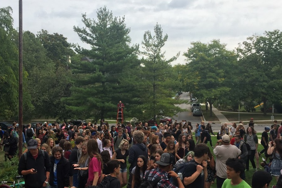 Students disassembled after the All School Picture was taken
