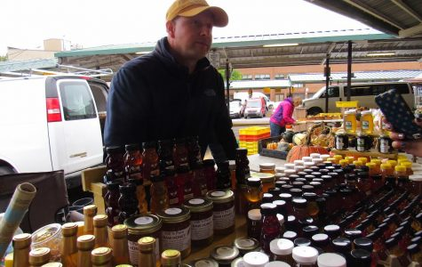 Jay Jermo is part of a family-run honey business, he is a consistent vendor at the Ann Arbor Farmer's Market. Jermo has been coming to the Ann Arbor Farmer's market for over four years. Jermo is responsible for the marketing end of the business, Jermo sells around 22 flavors of honey.