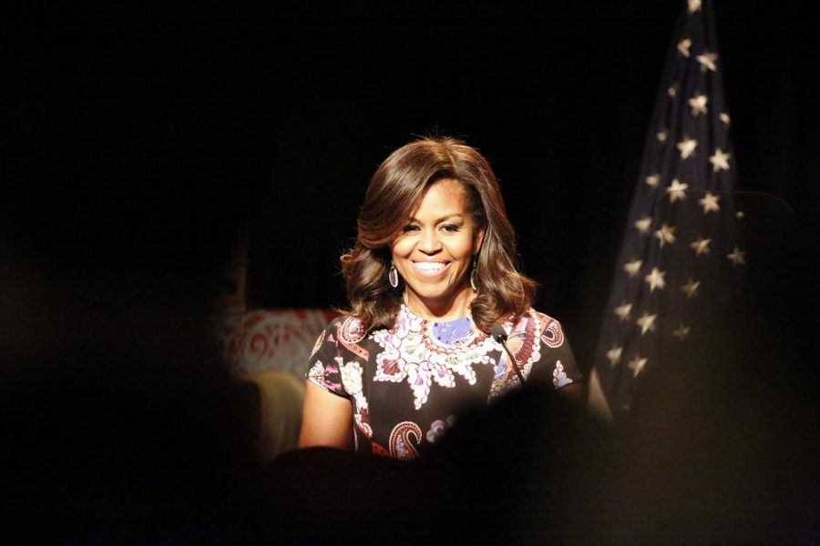 Michelle+Obama+speaks+at+Mulberry+School+for+Girls+in+London.+Photo%3A+Simon+Davis%2FDFID
