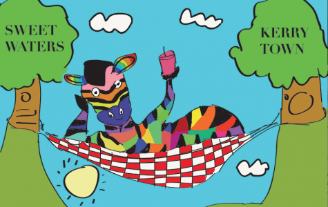 The rainbow zebra takes a relaxing rest from school. Or does he?