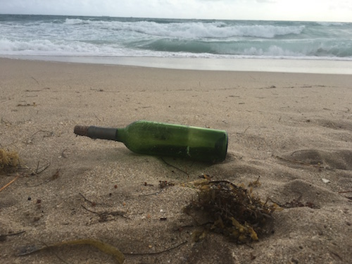 A message in a bottle, found on the beaches of Hollywood, Florida on December 30, 2016.