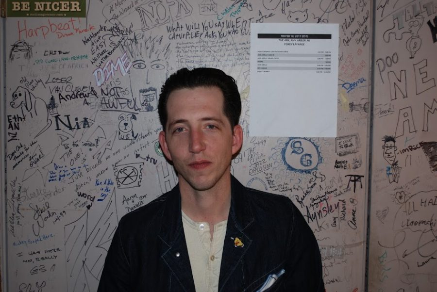 Pokey LaFarge, singer/songwriter and guitarist, backstage at The Ark after his show. LaFarge exposed himself to new music at a very early age, and feels that finding people with different tastes than his own helped him to become who he is. His music ranges from jazz to pop, but each song during the concert was infused with his captivating energy.