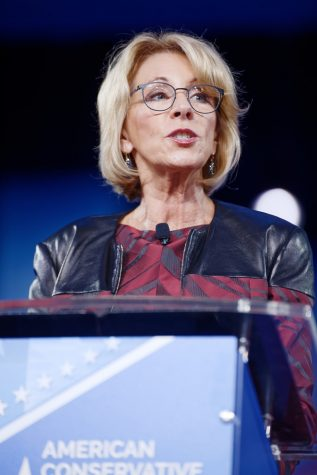 Secretary of Education Betsy DeVos speaks at the 2017 Conservative Political Action Conference. DeVos has campaigned for the Republican Party for years using her family money. Her lack of experience has made her a hotly contested appointment. (Michael Vadon)