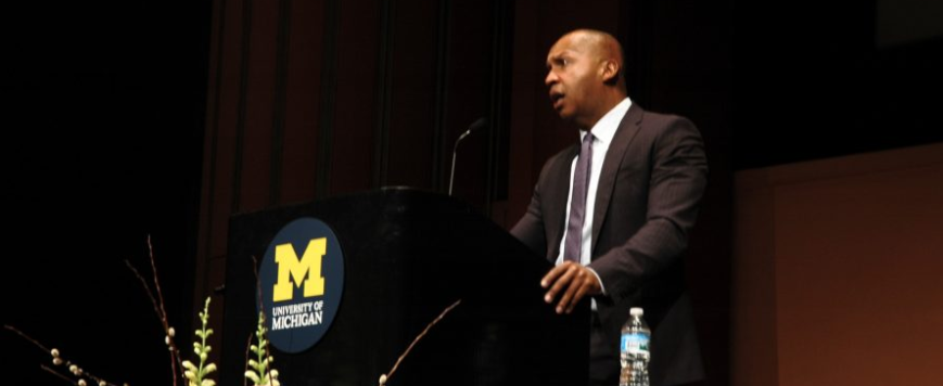 """Stevenson addressed the full auditorium Tuesday night. """"I want to talk to you about our capacity to change the world,"""" he began. This was a central theme of the lecture."""