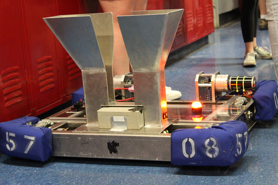 Team 5708, or Zebrotics own robot. Club is overseen by Christia West.