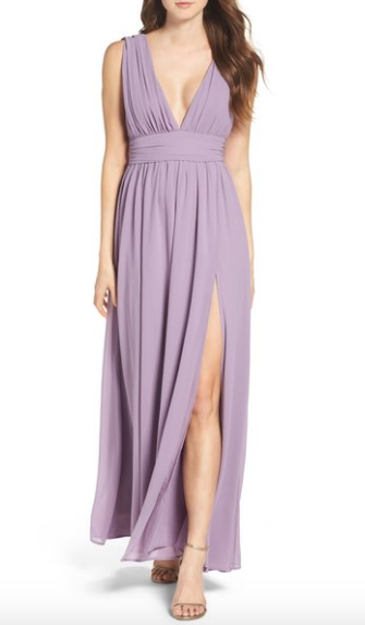 Price: $84.00  This dress from Nordstrom comes in 6 different colors. The plunging neck line and slit gives the dress a unique look.  http://shop.nordstrom.com/s/lulus-plunging-v-neck-chiffon-gown/4403034?origin=category-personalizedsort&fashioncolor=BLUSH