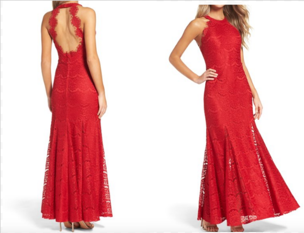 Price: $198.00 This beautiful dress has a open back showing off just enough. The brilliant color will look amazing on anyone rocking this dress.  http://shop.nordstrom.com/s/morgan-co-open-back-gown/4539542?origin=category-personalizedsort&fashioncolor=RED