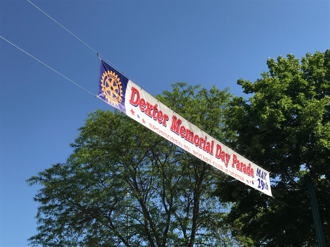 The welcoming banner on Baker Road the front of the Dexter Memorial Day Parade.