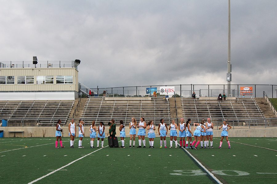 The Skyline Junior Varsity team lines up at center field as each player gets announced.