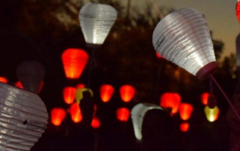Lanterns were raised in the air as a symbol of hope.