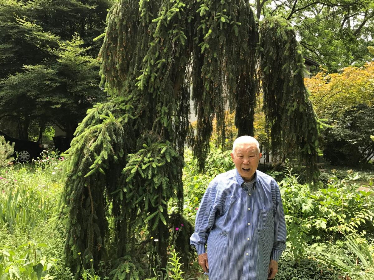 My grandfather in front of his favorite spruce tree outside his long time home in the historic district of Ann Arbor.