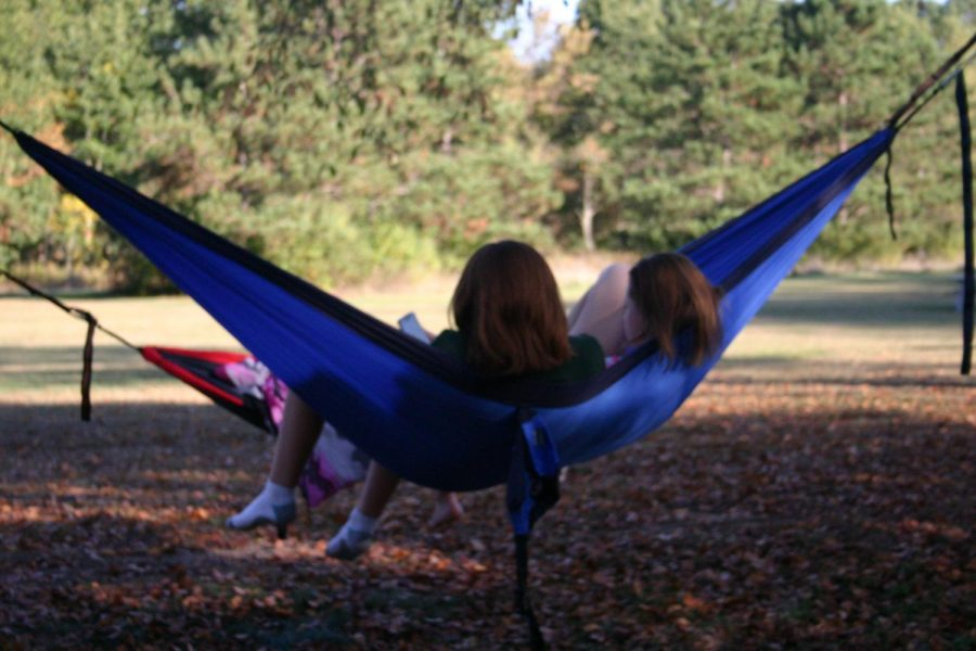 Hammocks were put up along the perimeter of the campsite. These were eventually taken down due to erratic rainfall late at night, but while the pleasant weather persisted forum members such as Emily Haddrill and Rachel Hystad, pictured here, relaxed in them.
