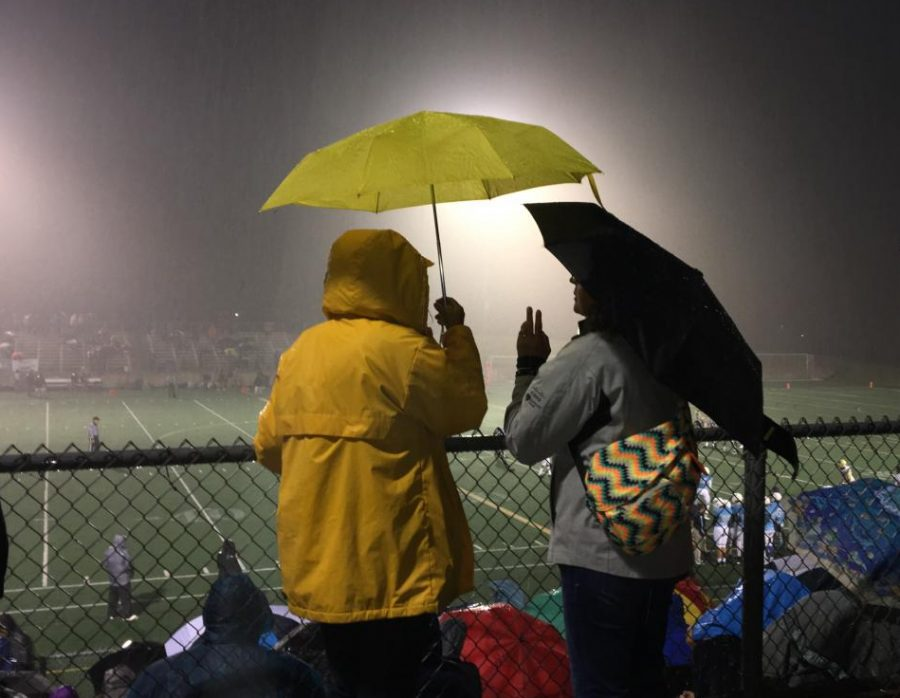 Fans of all ages weathered the rain, the student section was nearly full as well as the parent section.