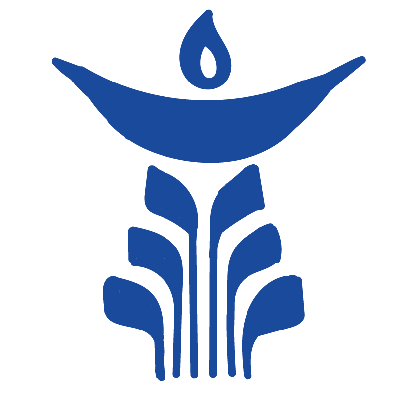 Pictured behind is the Unitarian Universalist Congregation of Ann Arbors logo. The image is representative of a chalice, which is lit during every service.