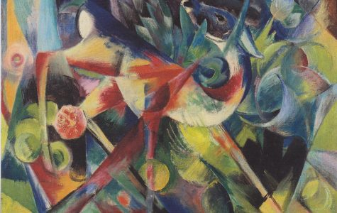 Depicting a deer in a psychedelic garden, Reh im Blumenga (translating in English as Deer in Flower garden) was painted by German artist Franz  Marc in 1913.