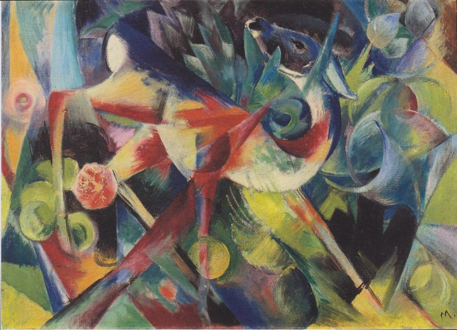 Depicting+a+deer+in+a+psychedelic+garden%2C+Reh+im+Blumenga+%28translating+in+English+as+Deer+in+Flower+garden%29+was+painted+by+German+artist+Franz++Marc+in+1913.