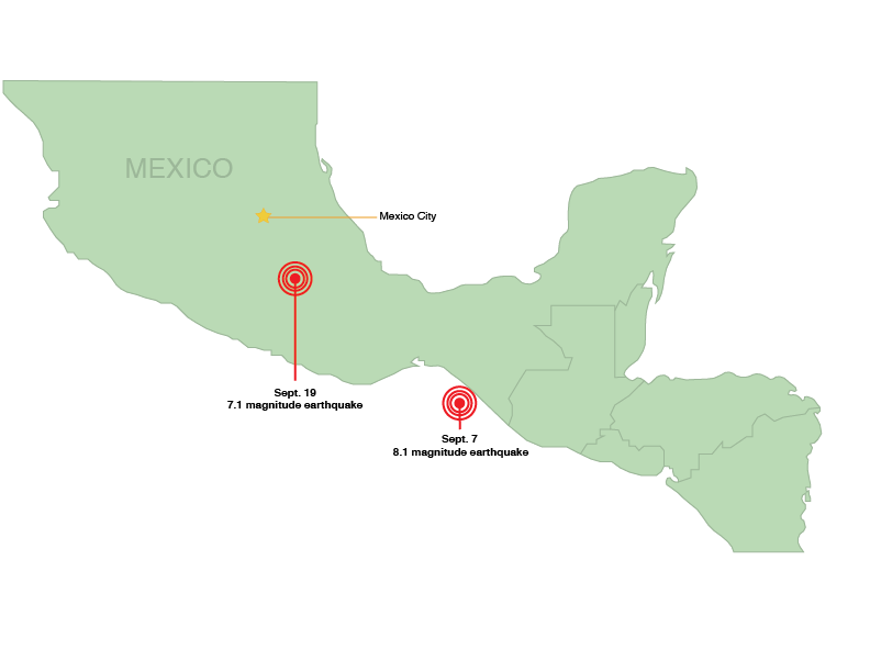 The Sept. 7 and Sept. 10 earthquakes, which both shook Puebla City, Mexico: Fiona O'Rielly's exchange location.