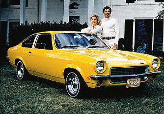John DeLorean with the 1971 Chevrolet Vega, which he designed while the head of the Chevrolet division.