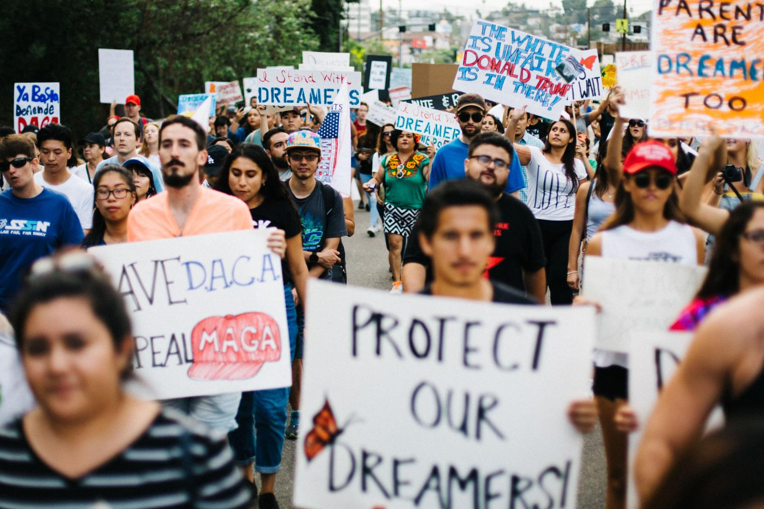 Protesters in Los Angeles march to protect the rights of Dreamers.  (Photo courtesy of Molly Adams)