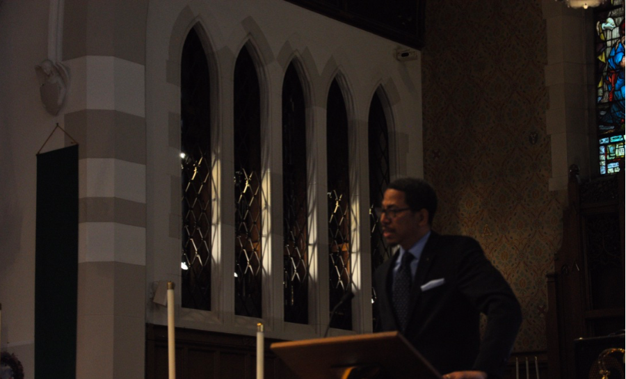 Speaker Dr. Larry Lee Rowley, is pictured giving a speech at St. Andrews church.  Picture taken by Axel Hiney.