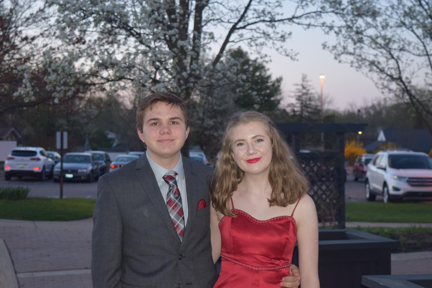 Grace+Jensen+and+Evan+Phillips+pose+for+a+photo+before+entering+Community+High+Prom.