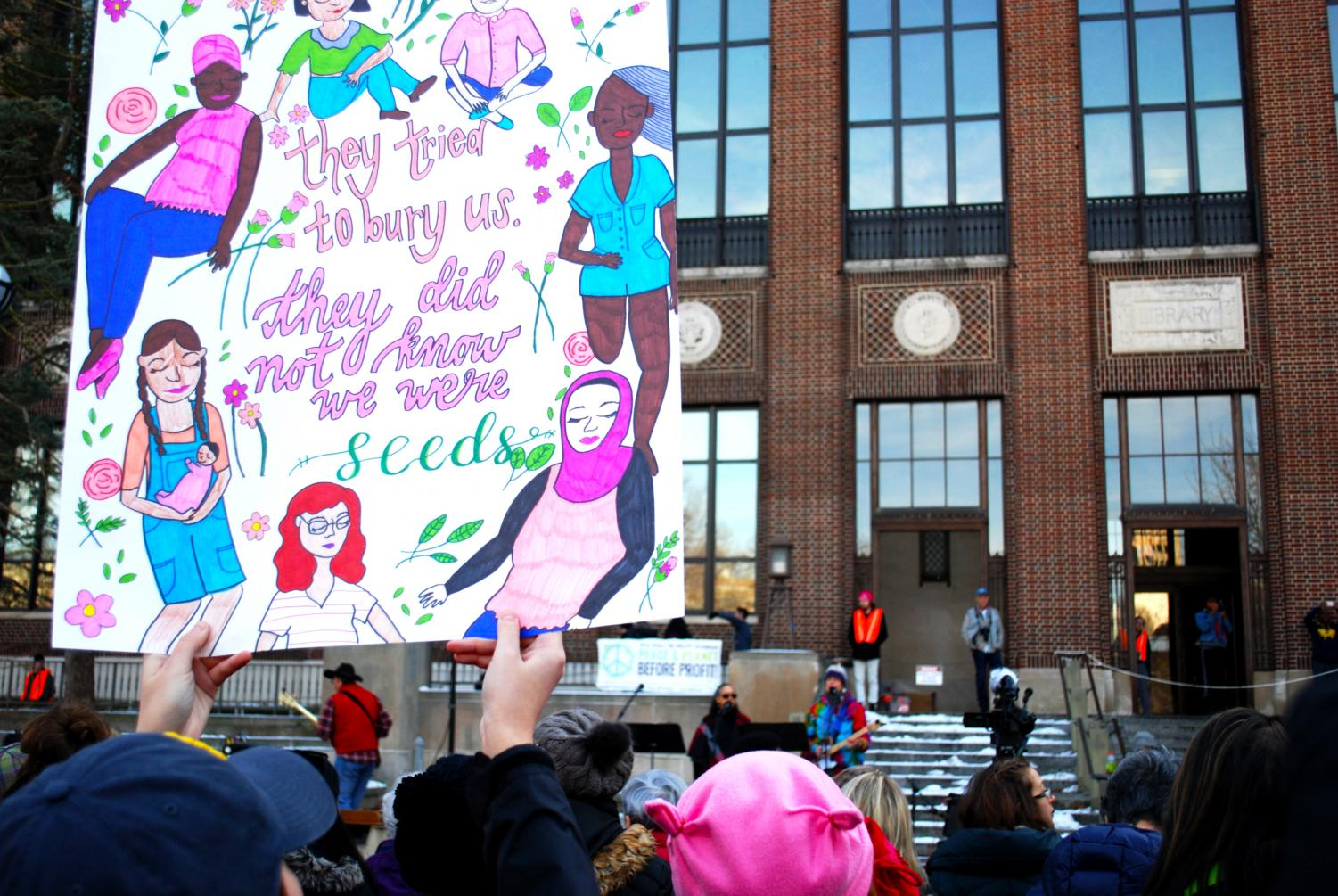 A poster from this year's Women's March in Ann Arbor.