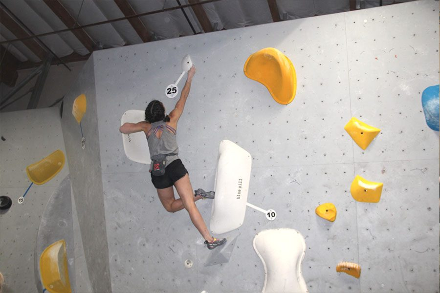 Bridget+Weiss+reaches+for+the+top+of+womens+climb+number+two+during+the+qualification+round+on+Friday.+This+was+Bridget%E2%80%99s+second+ever+adult+competition.