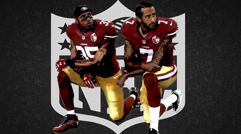 Eric+Reid+%28left%29%2C+and+Colin+Kaepernick+%28right%29+kneeling+before+a+game+in+the+2017+NFL+season.