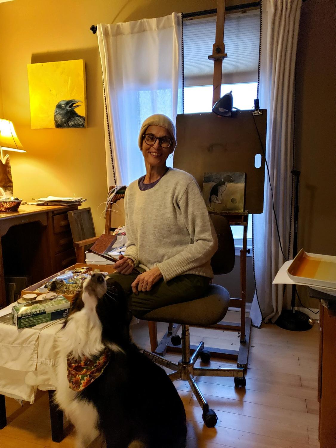 Elena+Flores+sits+in+her+home+studio.+She%27s+been+painting+small+pieces+for+friends+and+family.+%22It%27s+a+safe+place+to+be%2C+it%27s+a+place+that+I+can+just+do+it+without+judgement%2C%22+said+Flores+on+art.