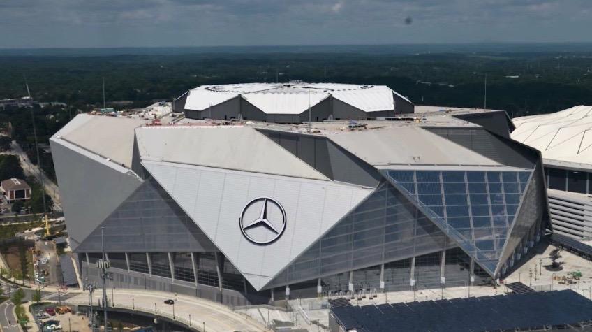 Mercedes-Benz Stadium located in Atlanta –– home of Super Bowl LIII.