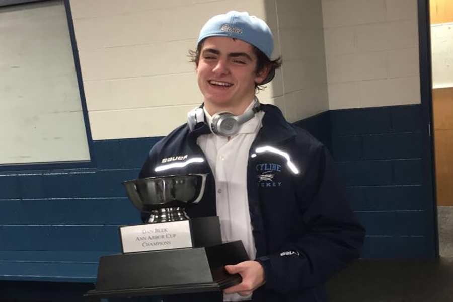O'Brien holding the Jilek cup trophy.  The Jilek cup is a tournament of the four high school hockey teams in AnnArbor.