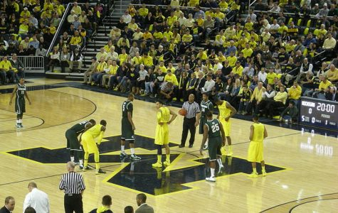 An image just before tipoff of Michigan vs. Michigan State, from March 3, 2013.