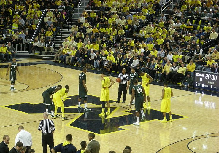 An+image+just+before+tipoff+of+Michigan+vs.+Michigan+State%2C+from+March+3%2C+2013.