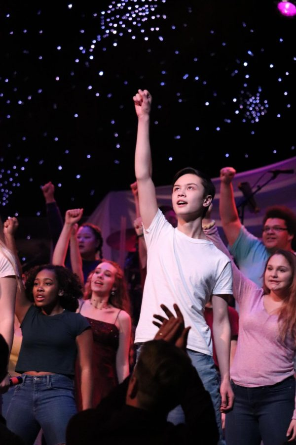 The 2019 Future Stars Finals performance began with a song by all of the singers and dancers involved. Students from around the Ann Arbor school district flooded the Pioneer High School stage.