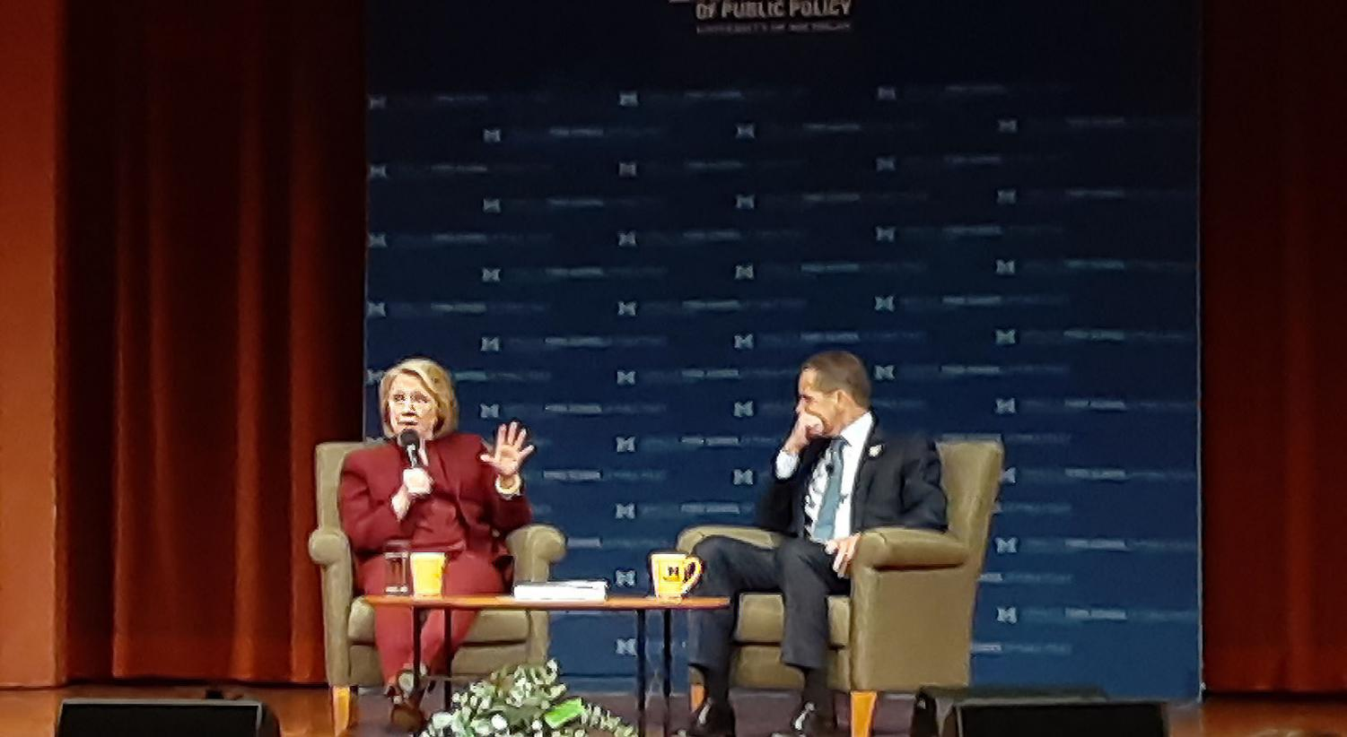 Hillary Clinton talking to Dean Barr. Clinton touched on topics including immigration, women's rights and impeachment during her interview.