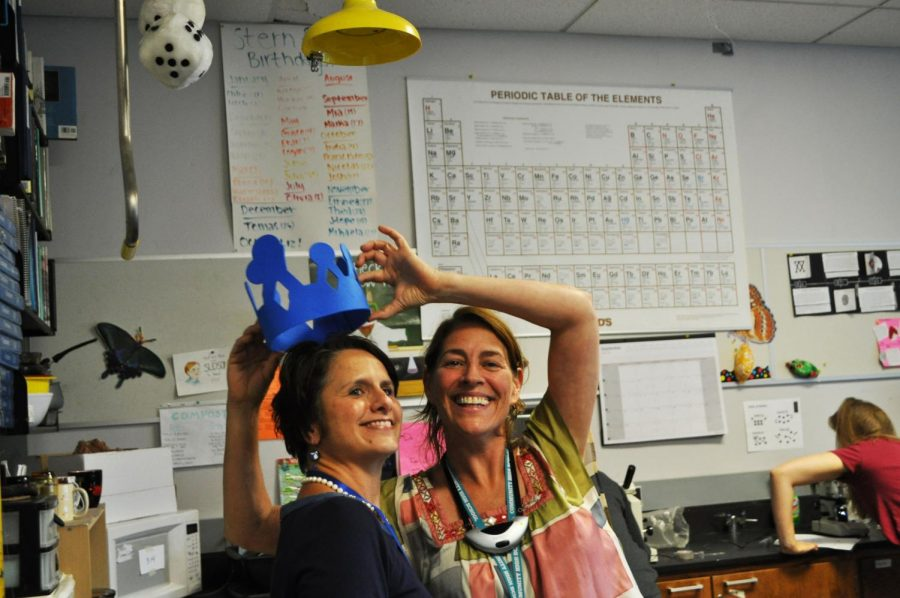 FOS+teacher+Liz+Stern+crowns+Dean+Marci+Tuzinsky+after+the+1+p.m.+announcement.+Tuzinsky+will+travel+to+Washington%2C+D.C.+on+Nov.+14+to+receive+the+award+from+Secretary+of+Education+Betsy+Devos.