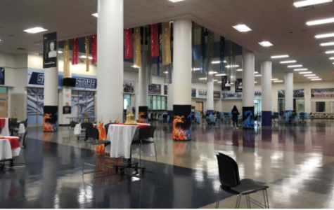 The cafeteria at Skyline High School, where the dance was held.