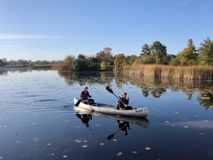 Covey Hurd and Robby Haviland enjoy the morning canoe ride.