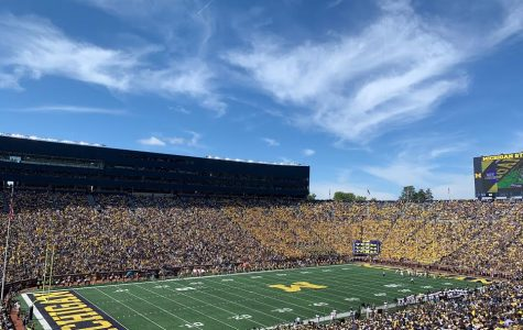The Big House is packed with students and football fans on a Saturday morning.