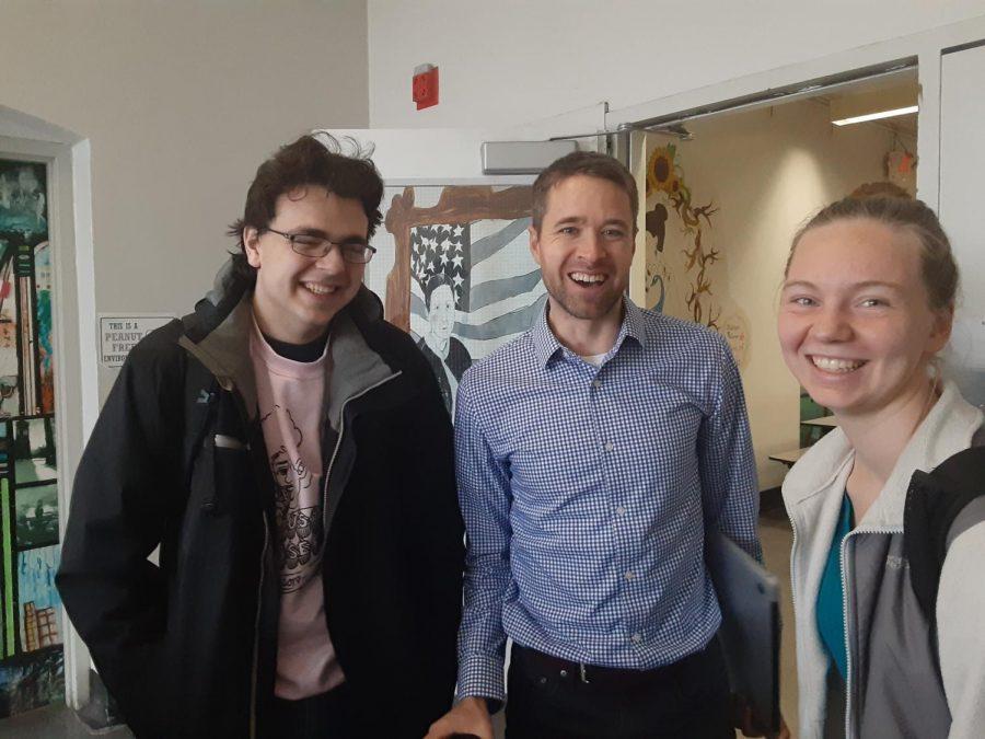 From left to right, Treasurer Cort Toschlog-Green, advisor Matt Johnson and Co-President Julia Sonen.