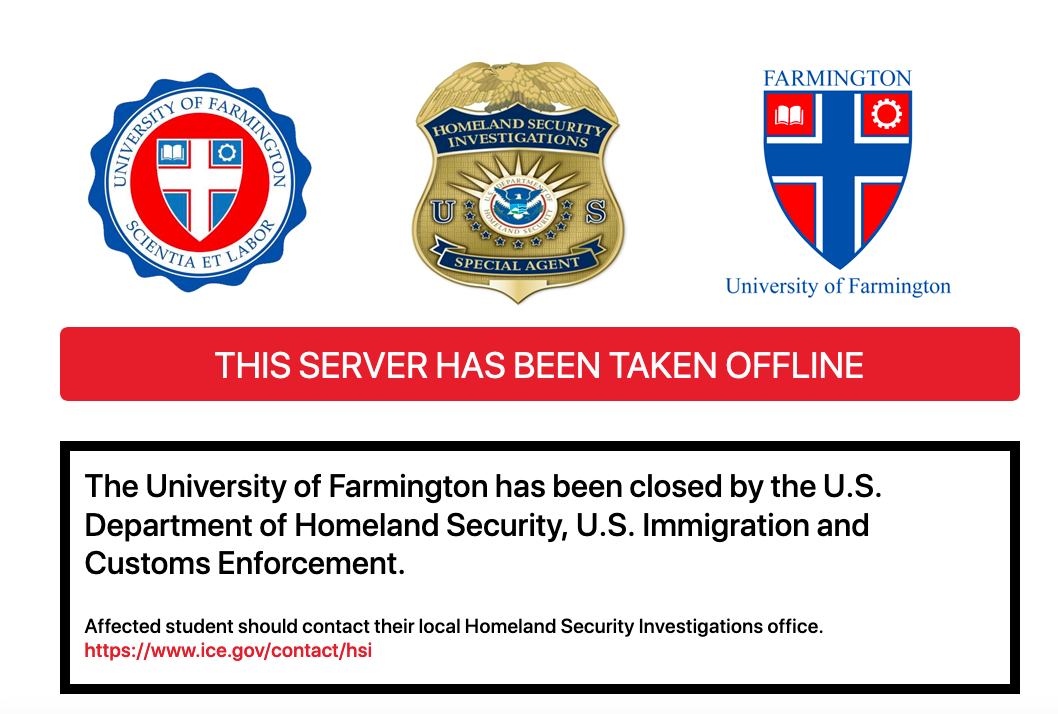 A screen capture from what used to be the website of the University of Farmington, an illegitimate institution.