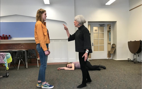 Judith DeWoskin and Isabel Perry rehearse a scene for CET's winter play,