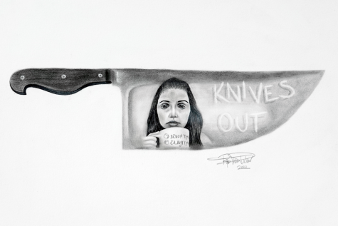 "This art piece by Ryan Thomas-Palmer shows Marta, the protagonist, in the reflection of a knife, holding a mug that reads ""My house, my rules, my coffee."""