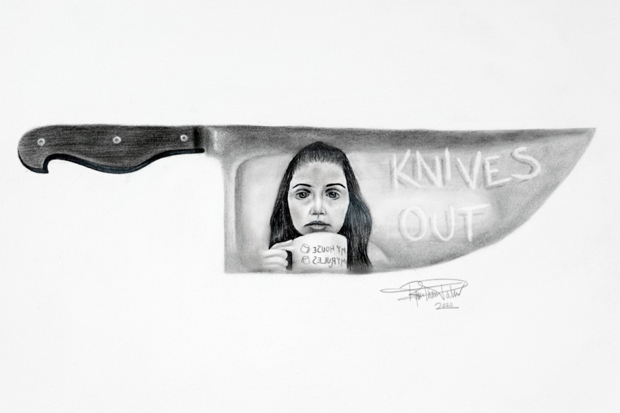 This art piece by Ryan Thomas-Palmer shows Marta, the protagonist, in the reflection of a knife, holding a mug that reads