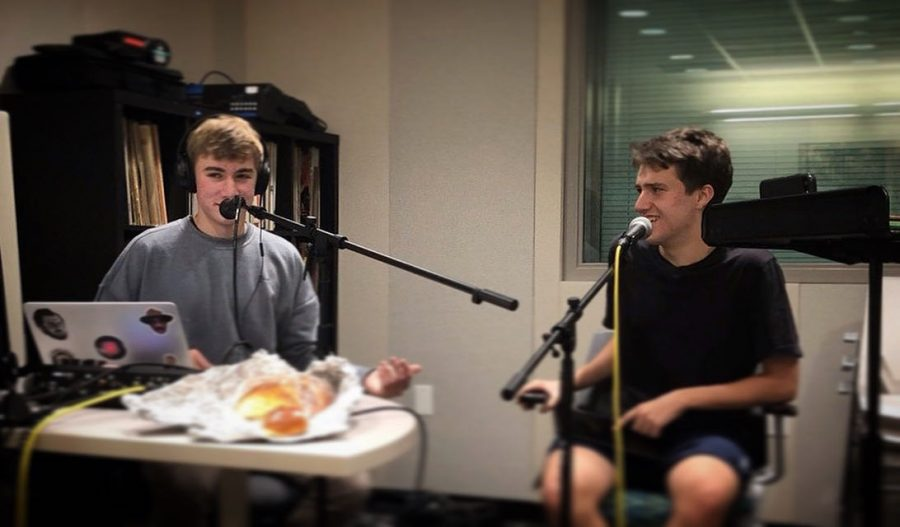 Jack Yonover(left) and Bobby Becker(right) in the studio recording Challah Talk on December 12, 2019.