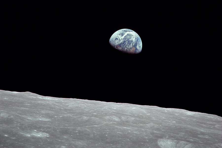 Earthrise, the photo of the Earth rising above the Lunar surface, was taken by astronaut Bill Anders on Dec. 24, 1968 during the Apollo 8 mission.