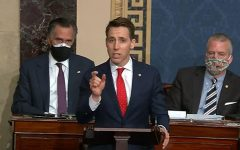 In this screenshot taken from a congress.gov webcast, Sen. Josh Hawley, R- Mo., speaks during a Senate debate session to ratify the 2020 presidential election at the U.S. Capitol on Jan. 6, 2021 in Washington, D.C. (congress.gov/Getty Images/TNS)
