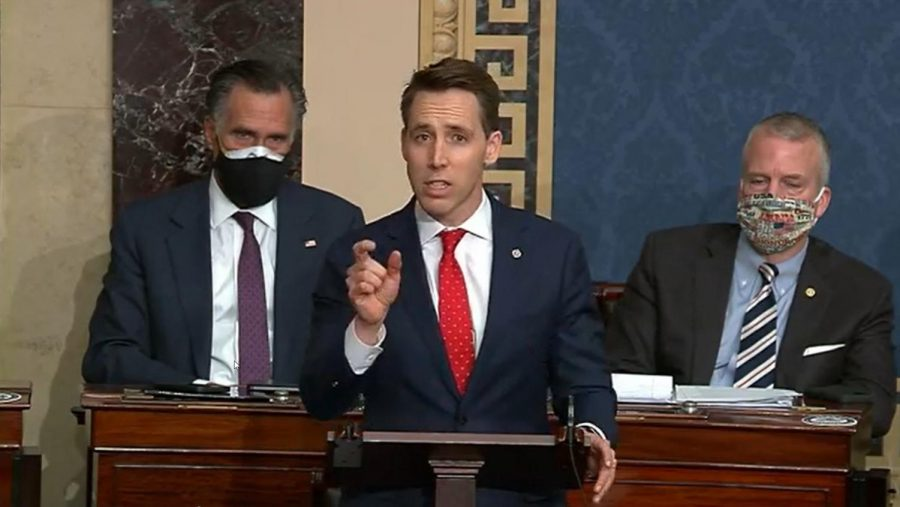 In+this+screenshot+taken+from+a+congress.gov+webcast%2C+Sen.+Josh+Hawley%2C+R-+Mo.%2C+speaks+during+a+Senate+debate+session+to+ratify+the+2020+presidential+election+at+the+U.S.+Capitol+on+Jan.+6%2C+2021+in+Washington%2C+D.C.+%28congress.gov%2FGetty+Images%2FTNS%29