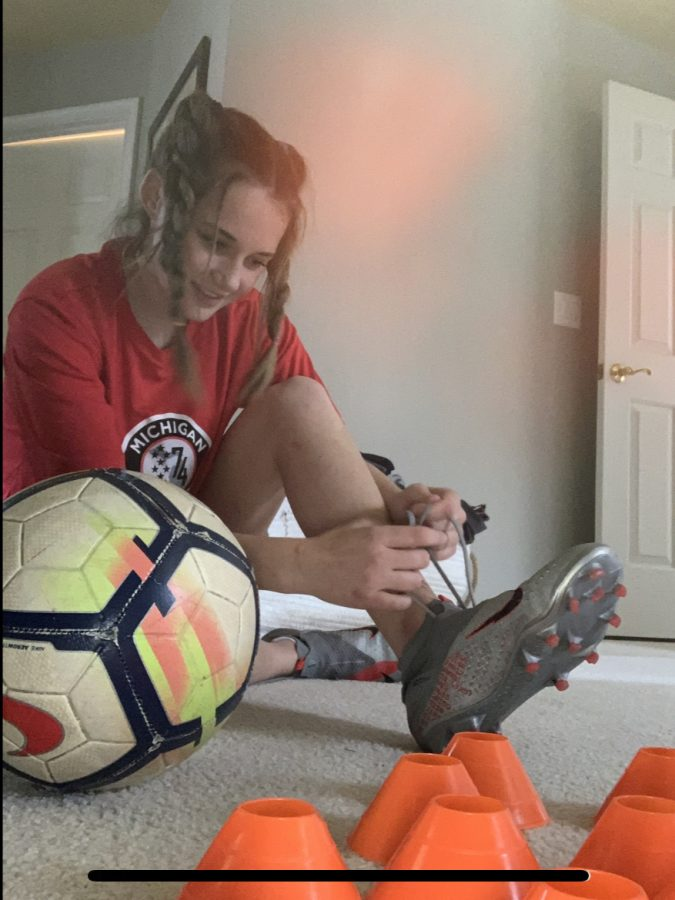 I wanted to capture my happiness of getting to tie my cleats up and train everyday. The joy of knowing that just doing some simple cone drills will help me get better and help me achieve my goal of playing soccer in college motivates me every day.