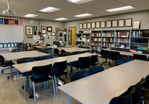 An empty classroom at Monta Vista High School in California. Photo by Julia Satterthwaite.